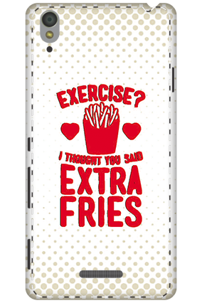 3D - Sony Xperia T3 White High Grade Plastic Extra Fries Mobile Cover