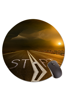 Start Road Round Mouse Pad