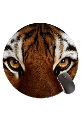 Tiger Eyes Round Mouse Pad