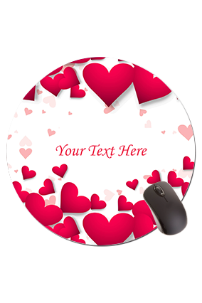 Hearts Round Mouse Pad