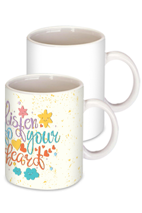 Listen to your Heart White Ceramic Kids Coffee Mug