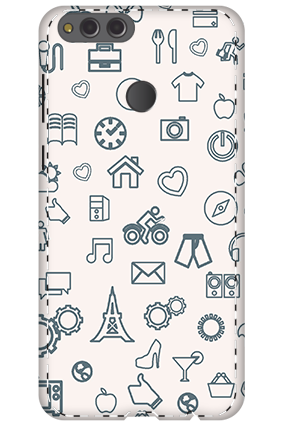 3D - Huawei Honor 7X Iconic Pattern Mobile Cover