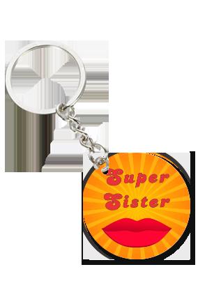 Super Sister Round Shape Key Chain