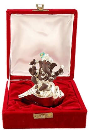 Silver Ganesh With Shankh