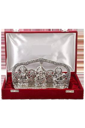 Silver Laxmi Ganesh Swarswati