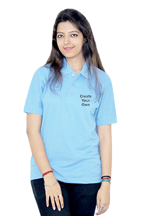 Designer Create Your Own Sky Blue Cotton Girl Polo T-Shirt