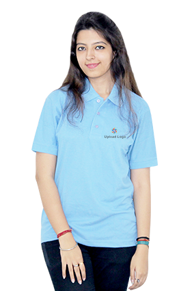 Corporate Upload Logo Sky Blue Cotton Girl Polo T-Shirt
