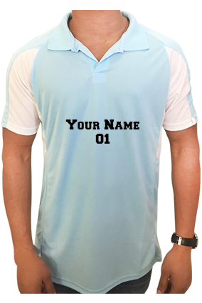 Create Your Own Sky Blue Sport Collar T-Shirt