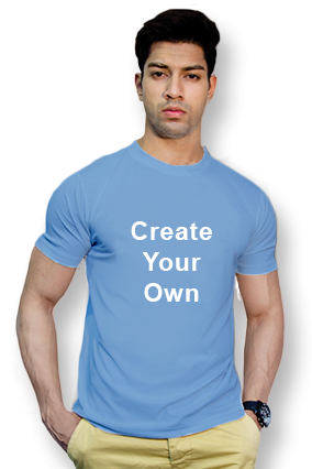 Create Your Own Sky Blue Round-Neck Dry-Fit T-Shirt