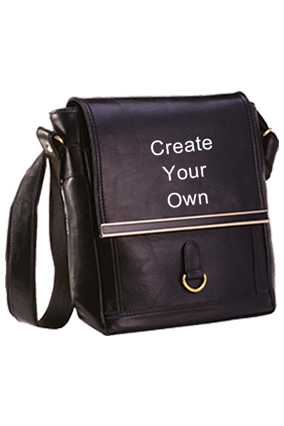 Personalized Messenger Bag Leatherite Black GE-1147