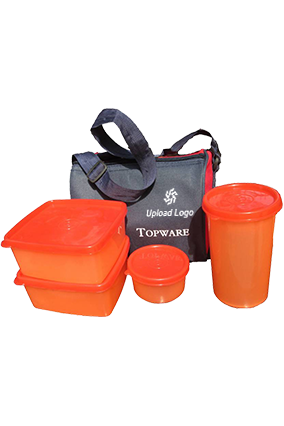 Upload Logo Topware 2 Food Container 1 Pickle Container And 1 Flask Orange Lunch Box