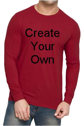 160GSM - Create Your Own Red Round Neck Drifit Dot Net Sports Full Sleeve Men T-Shirt