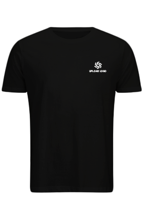 Upload Logo Black Cotton Crew Neck T-Shirt