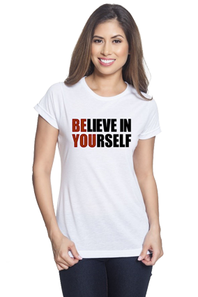 Believe in Your Self White Round Neck Drifit Dot Net Sports Half Sleeve Girls T-Shirt