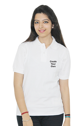 Promotional Create Your Own White Cotton Girl Polo T-Shirt