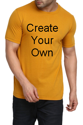 160GSM - Create Your Own Yellow Round Cotton Half Sleeve Men T-Shirt