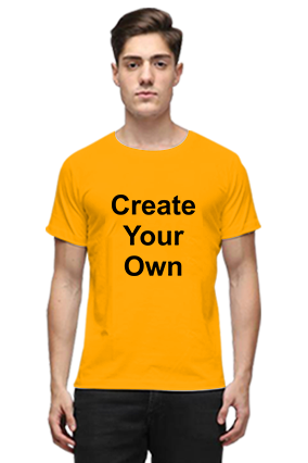 Create Your Own Yellow Round Neck Cotton Effit T-Shirt