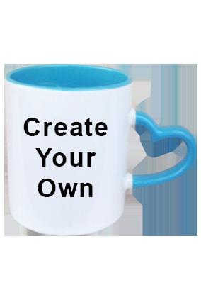 Create Your Own Inside Sky Blue With Sky Blue Heart Handle Mug