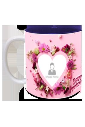 Beautiful Hearts Personalized Anniversary Inside Blue Mug