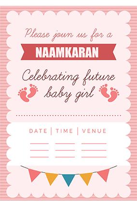 Buy designer namkaran invitation cards online in india with custom namkaran invitation card for baby girl namkaran invitation card for baby girl stopboris Image collections