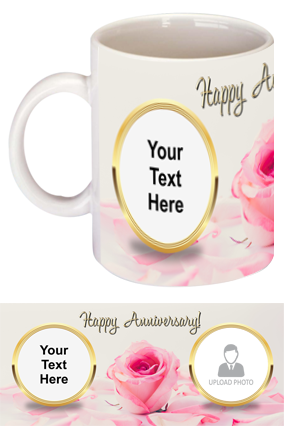 Pink Rose Customized Anniversary Bone China Mug