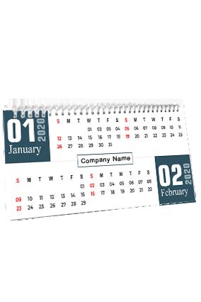 Customized Blue Theme Desk Photo Calendar(11 x 6 Inches) - 6 Leaves