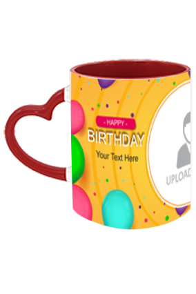 Colorful Balloons Customized Birthday Heart Handle Inside Maroon Redish Mug