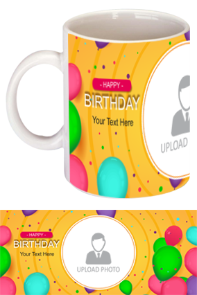 Colorful Balloons Customized Birthday Bone China Mug