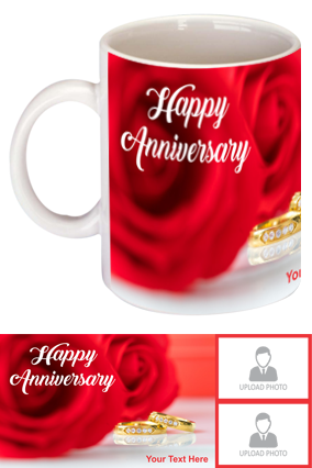 Beautiful Red Rose Customized Anniversary Bone China Mug
