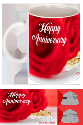 Beautiful Red Rose Customized Anniversary Bone China Mug