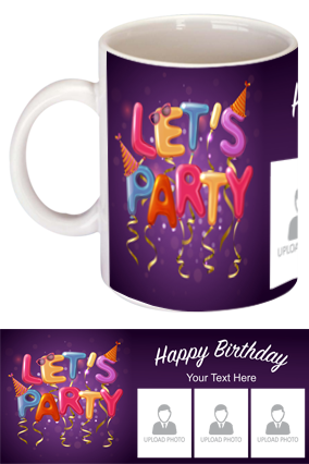 Lets Party Personalized Birthday Mugs