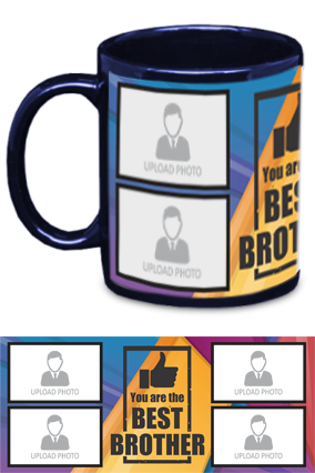 The Best Brother Personalized Exclusive Blue Patch Mug