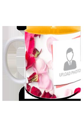 Rose Leaves Personalized Anniversary Inside Yellow Mug