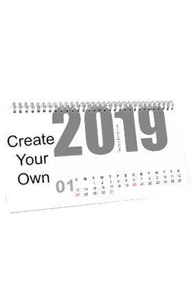 Custom Create Your Own Desk Photo Calendar(11 x 6 Inches) - 12 Leaves