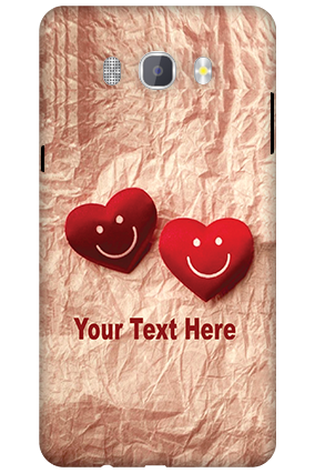 3D-Samsung Galaxy J7 New Edition 2016 White High Grade Plastic Smiley Heart Mobile Cover
