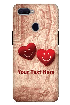 3D-Oppo F9 White High Grade Plastic Smiley Heart Mobile Cover