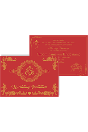 Red and Golden Hard Paper Landscape Wedding Invitation Card