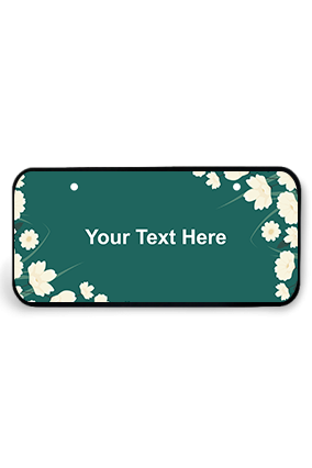 White Flowers on Sea Green Background Wooden Nameplate