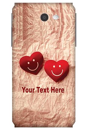 3D-Samsung Galaxy J7 White High Grade Plastic Smiley Heart Mobile Cover