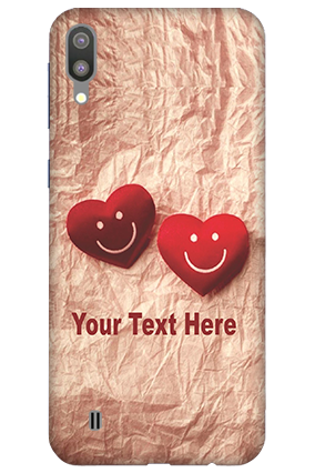 3D-Samsung Galaxy M10 White High Grade Plastic Smiley Heart Mobile Covers