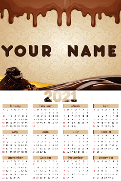 Chocolate Poster Name In Image Calendar (12x18 Inches)