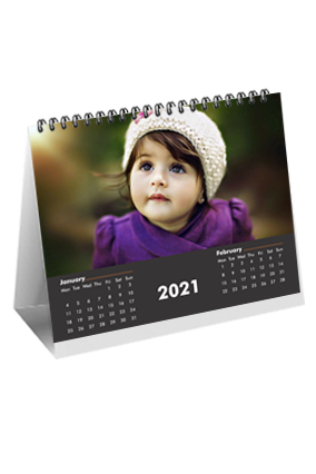 Black Desk Photo Table Calendar(10 x 8 Inches) - 6 Leaves