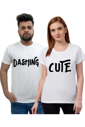 Matching Pair of Dashing Cute Cotton Half Sleeve Couple T-Shirt