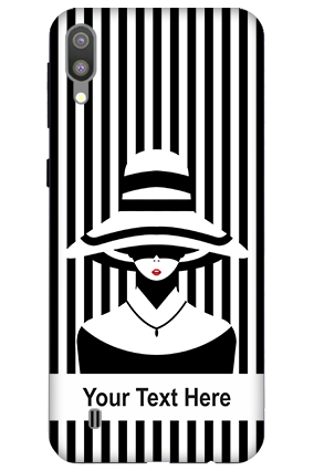 3D-Samsung Galaxy M10 Black and White Stripped Customized Mobile Cover