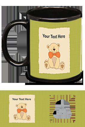 Teddy Bear Personalized Kids Designer Black Patch Mug