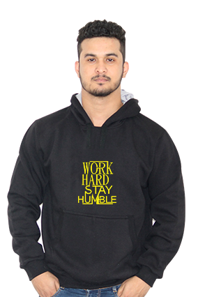 Customize Work Hard Stay Humble Full Sleeves Black Hoodie