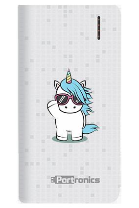 Unicorn with Glasses Customized 8000mAh Portronics Power Bank White
