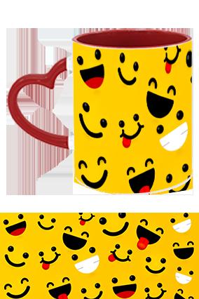 Laughing Smiles Printed Heart Handle Inside Maroon Redis Mug