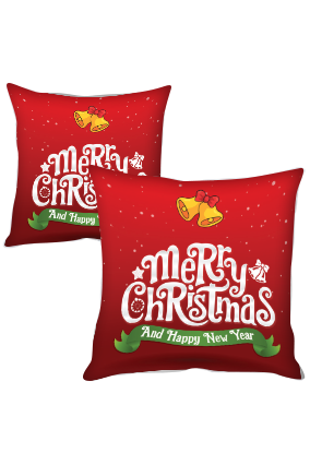 Golden Bell Merry Christmas and New Year Cushion Cover