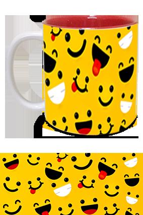 Laughing Smiles Printed Inside Red Mug